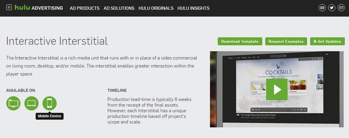 Hulu Interactive Interstitial Ads