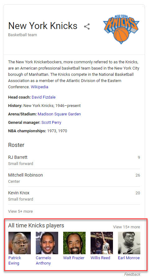Knicks Knowledge Panel
