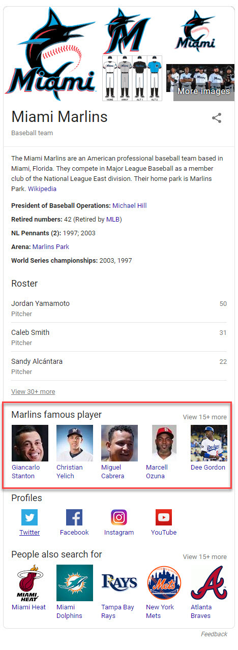 Marlins Knowledge Panel