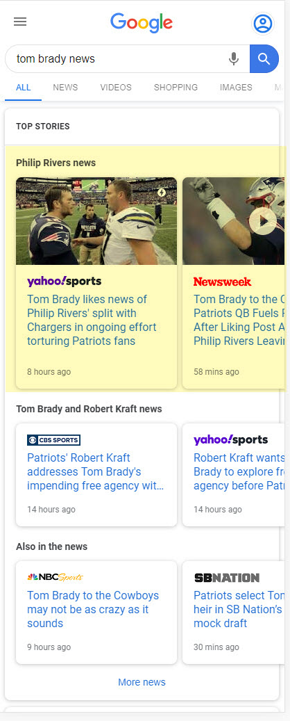 Google Multiple News Carousel: Tom Brady News
