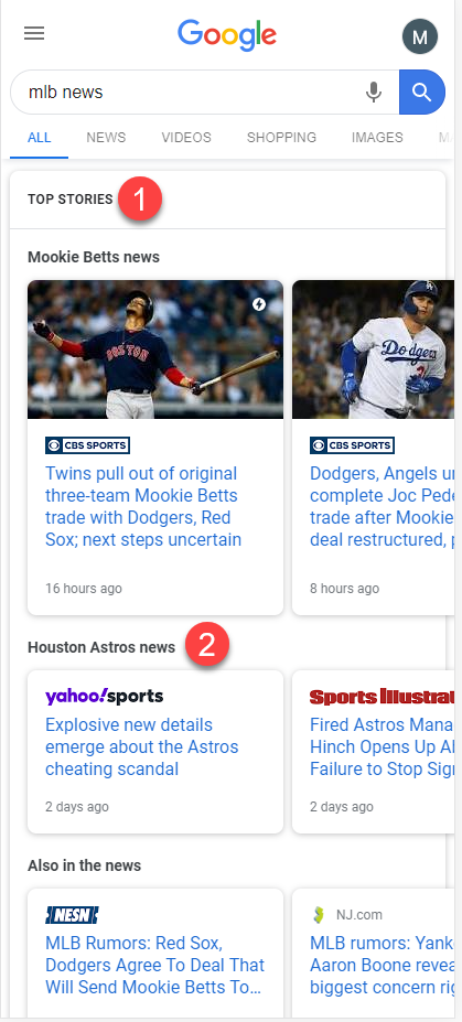 Google Multiple News Carousel: MLB News