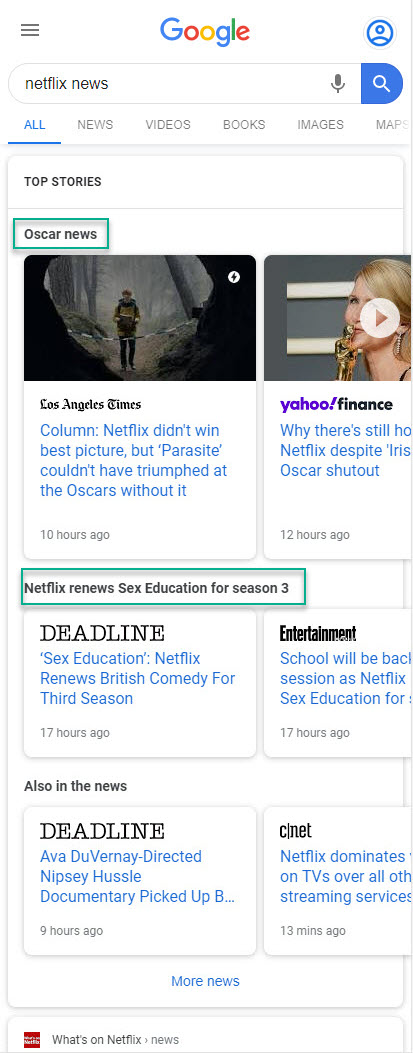 Google Multiple News Carousel: Netflix News