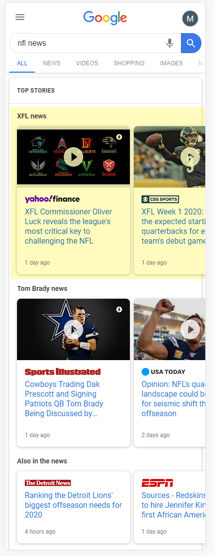 Google Multiple News Carousel: NFL News