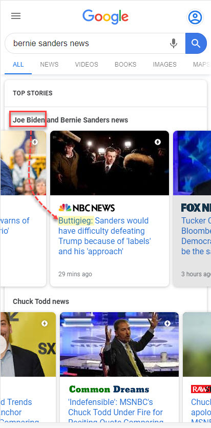 Google Multiple News Carousel: Sanders News