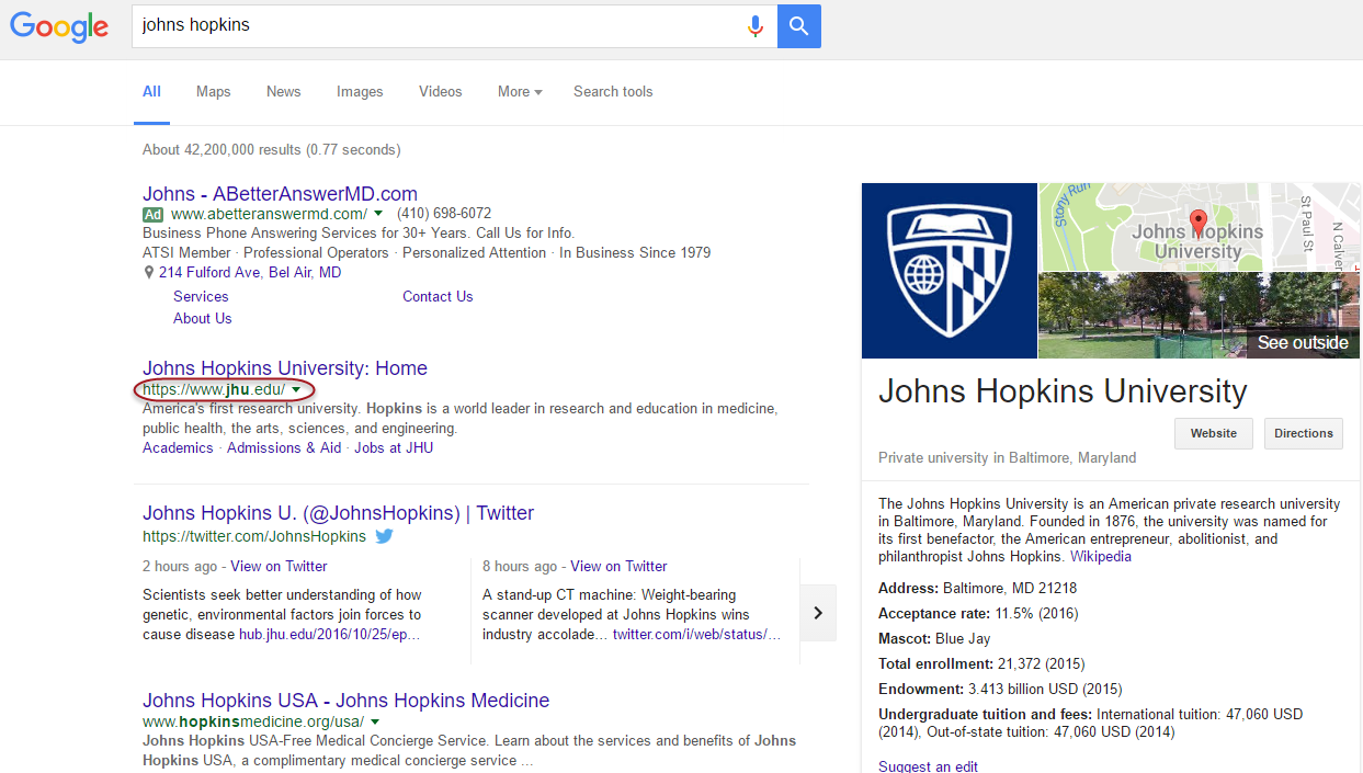 Johns Hopkins - No Notable Online