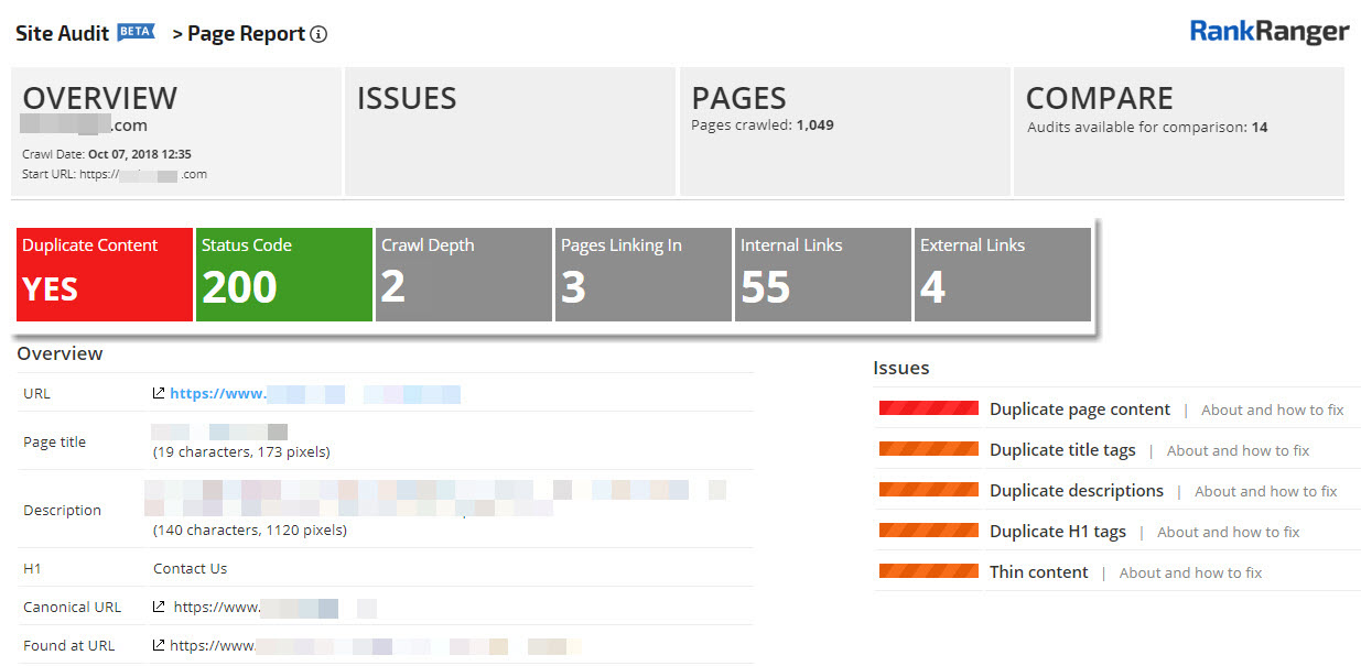 Site Audit Page Analysis