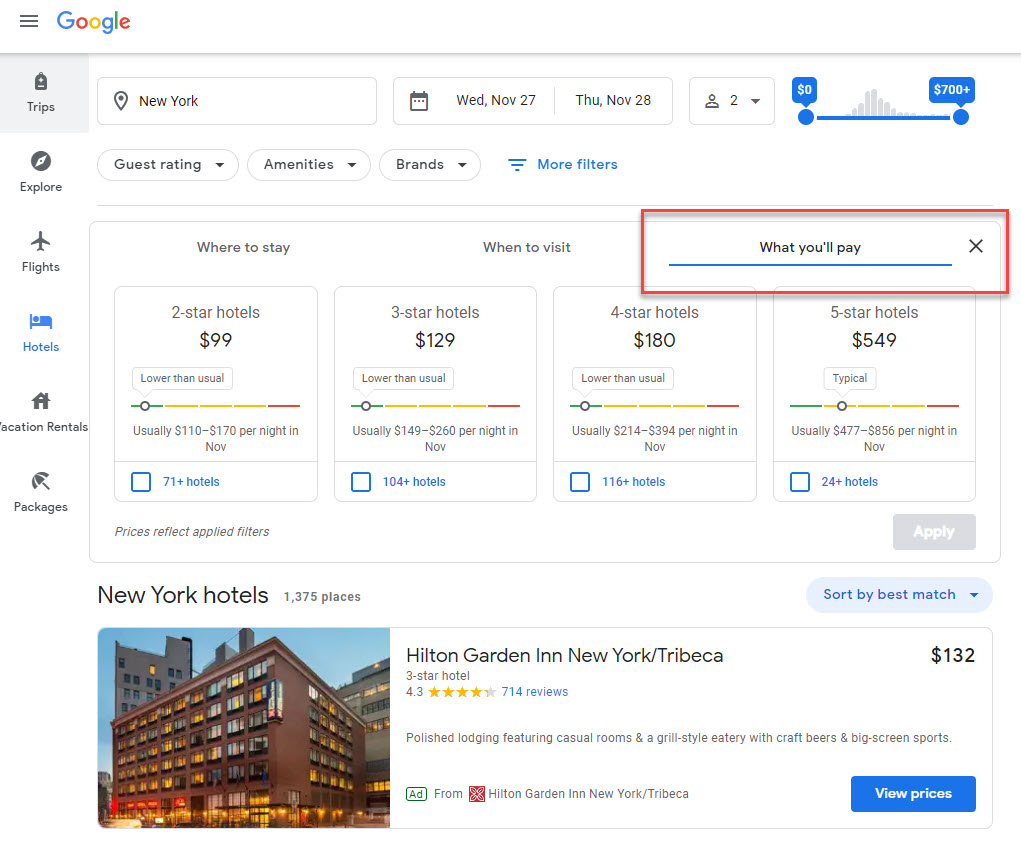 Google Pay Travel Filter