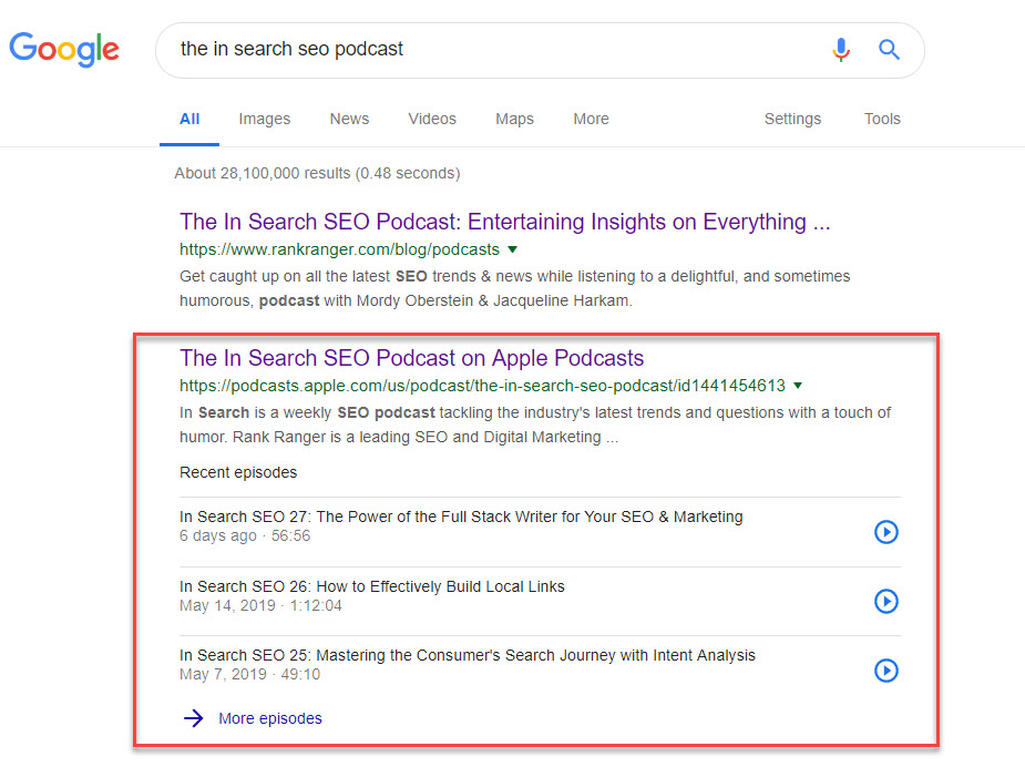 Podcast on the SERP