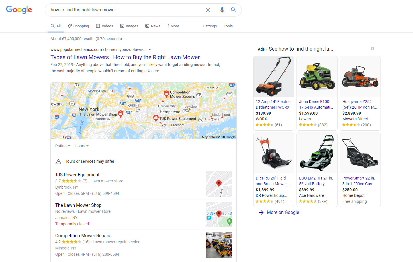 Products on Informational SERP