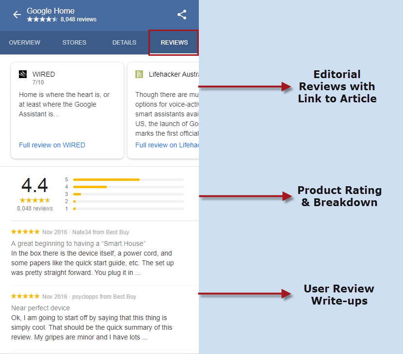 Reviews Tab - Product Knowledge Panel