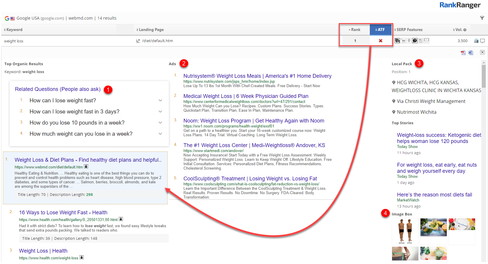 Above the Fold Rank SERP Snapshot