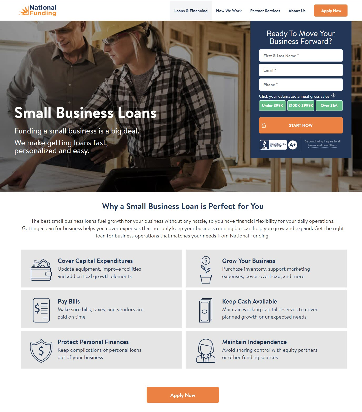 National Funding Small Business Loan Page