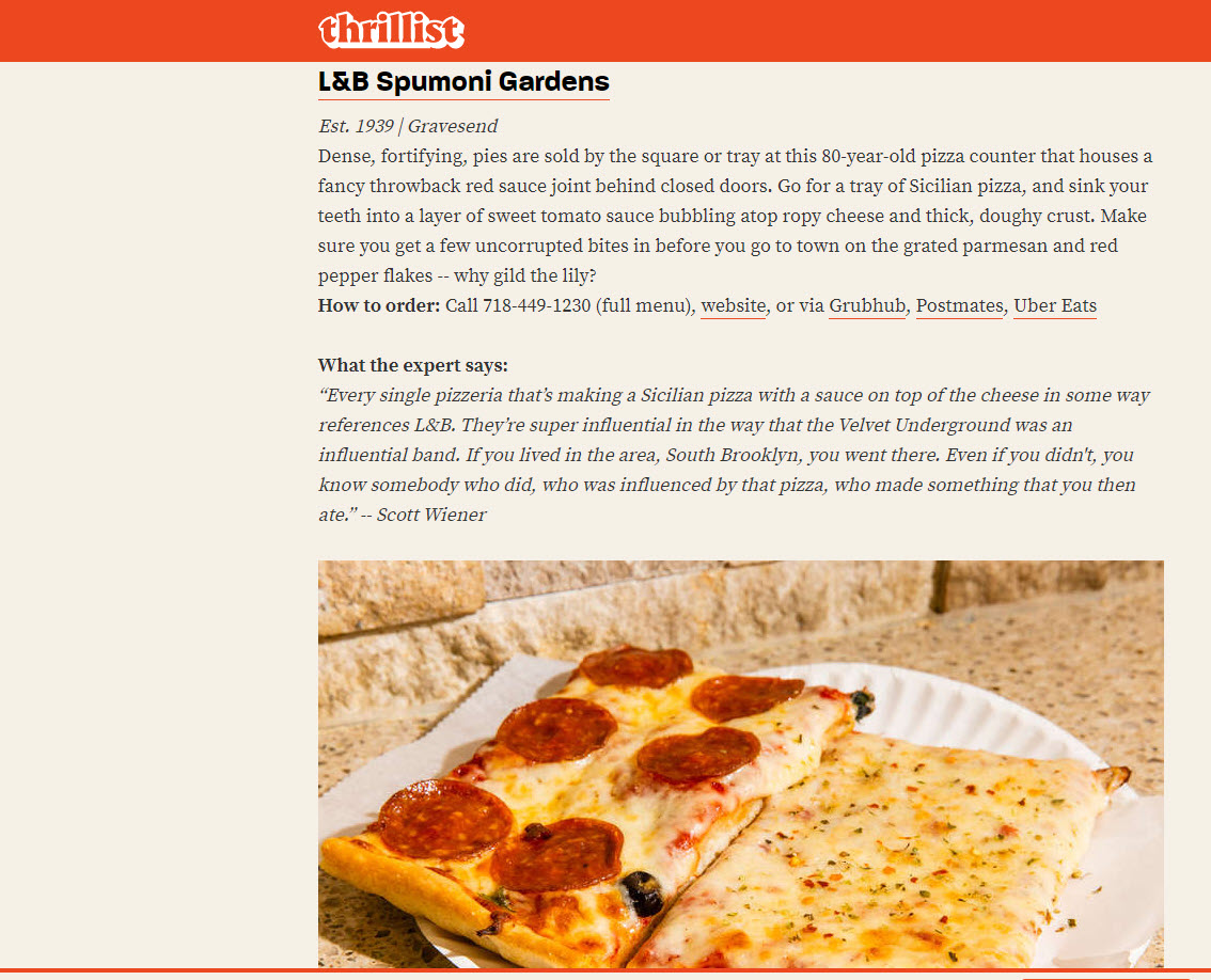 Thillist List of Pizza Shops in NYC