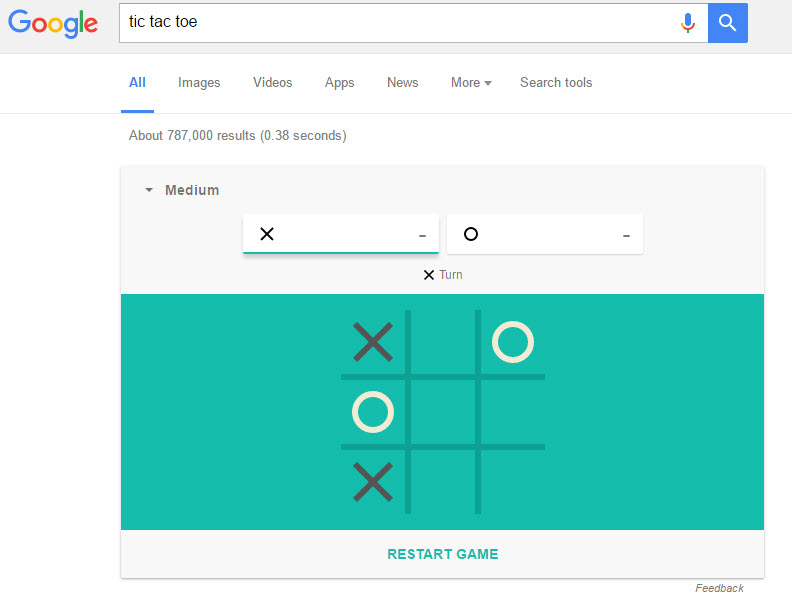 Tic-Tac-Toe on the SERP