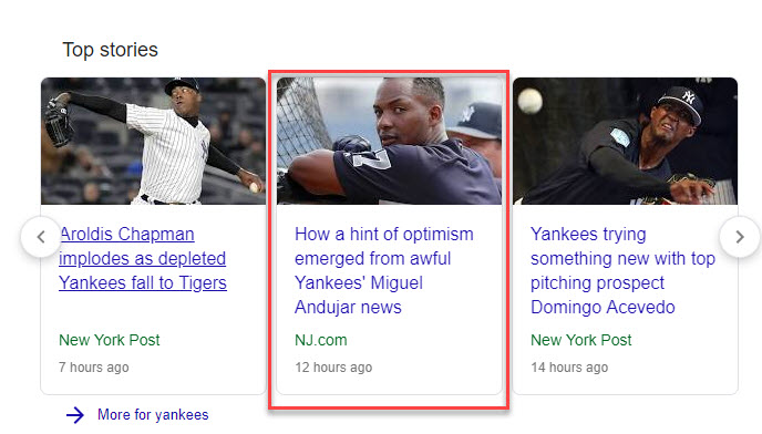 Yankees Top Stories Card