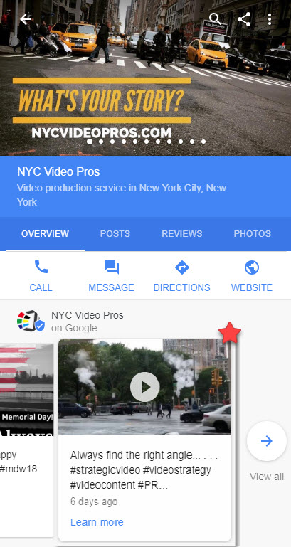 Google Posts Video