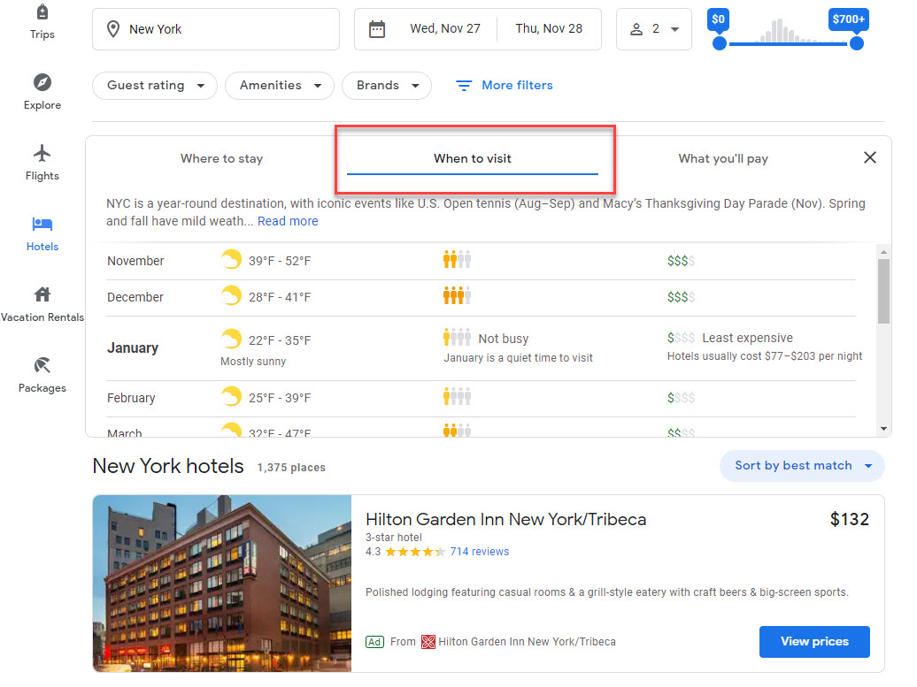 Google Travel When to Visit Filter