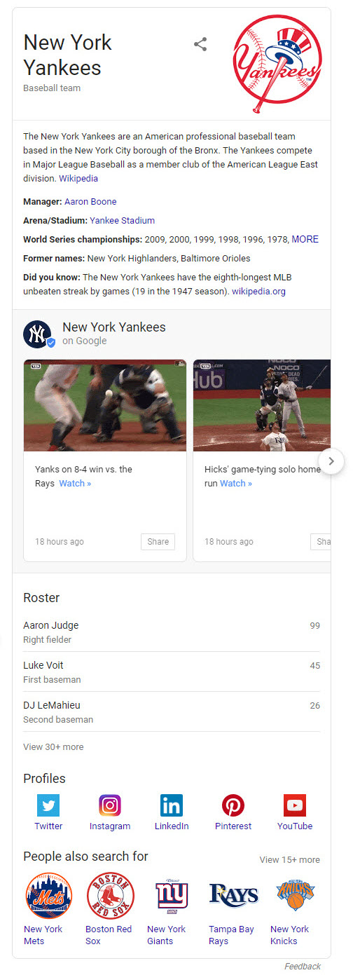 Yankees Knowledge Panel