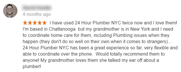 Google review of NYC Plumber