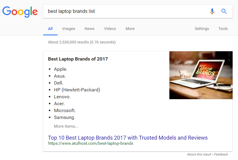 An example of a Featured Snippet
