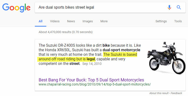 Featured Snippet based on an unoptimized landing page