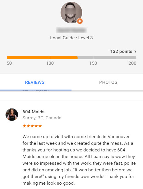 Google review of maid service in Vancouver, Canada