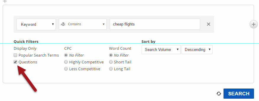 Search query in Keyword Finder