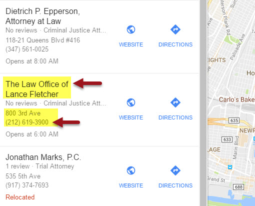e Local Finder example of duplicate business listings