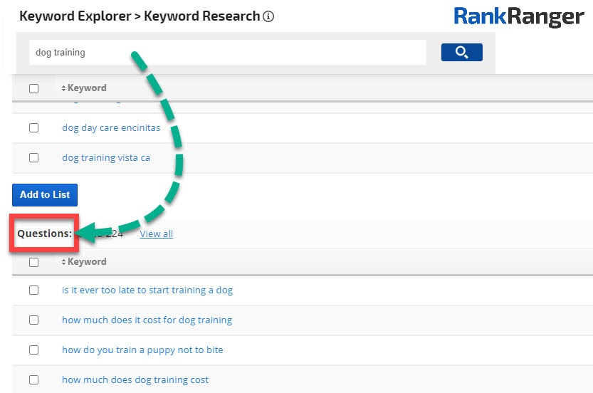 Rank Ranger Keyword Research tool showing the questions report