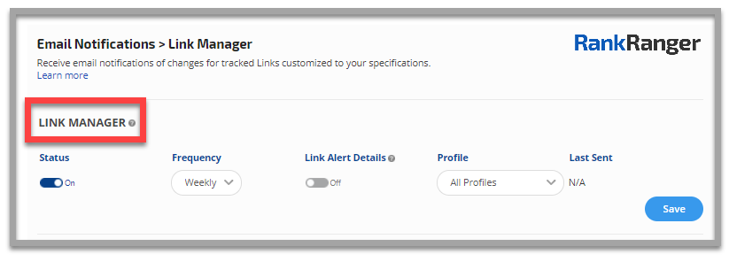 Link manager email notifications