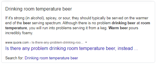 Featured Snippet about drinking beer at room temperature