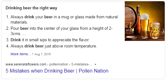Featured Snippet showing how to drink beer