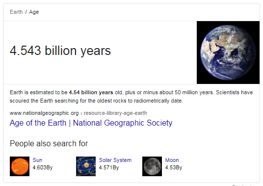 Featured Snippet showing the age of the earth