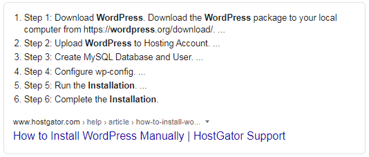 Featured Snippet showing how to install Wordpress