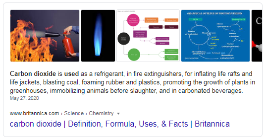 Featured Snippet for the term 'what is carbon dioxide used for'