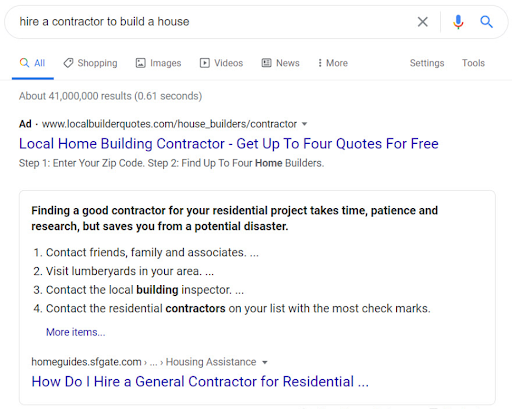 Featured Snippet for the term 'how to hire a contractor to build a house'