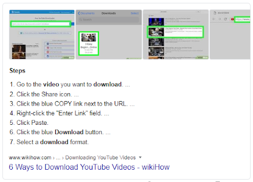 Featured Snippet for the term ''how to download youtube video'