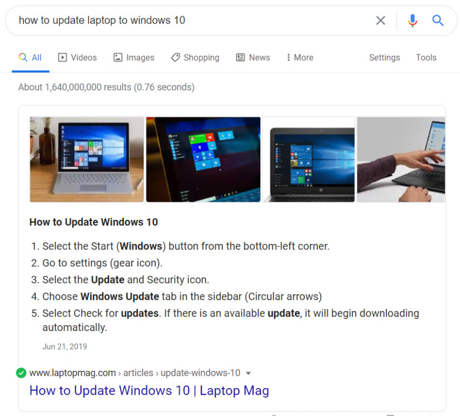 Google SERP for the term 'how to update laptop to windows 10'