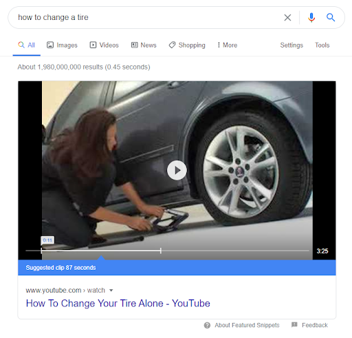 video Featured Snippet for the term 'how to change a tire'