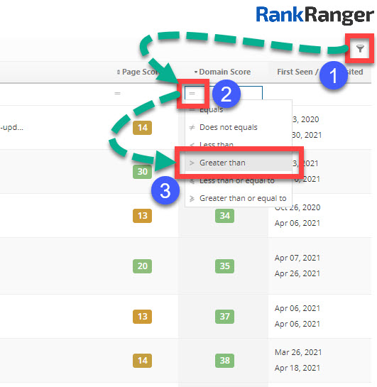 Using the Rank Ranger link explorer filters