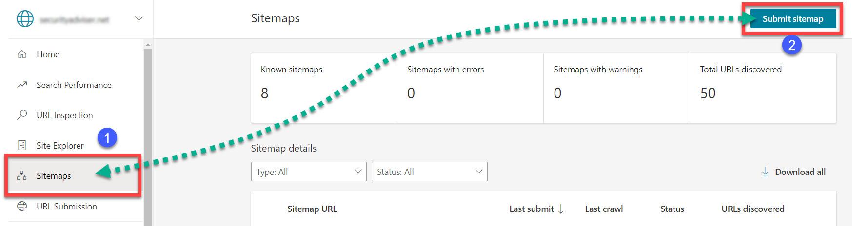 Sitemaps tab in Bing Webmaster Tools
