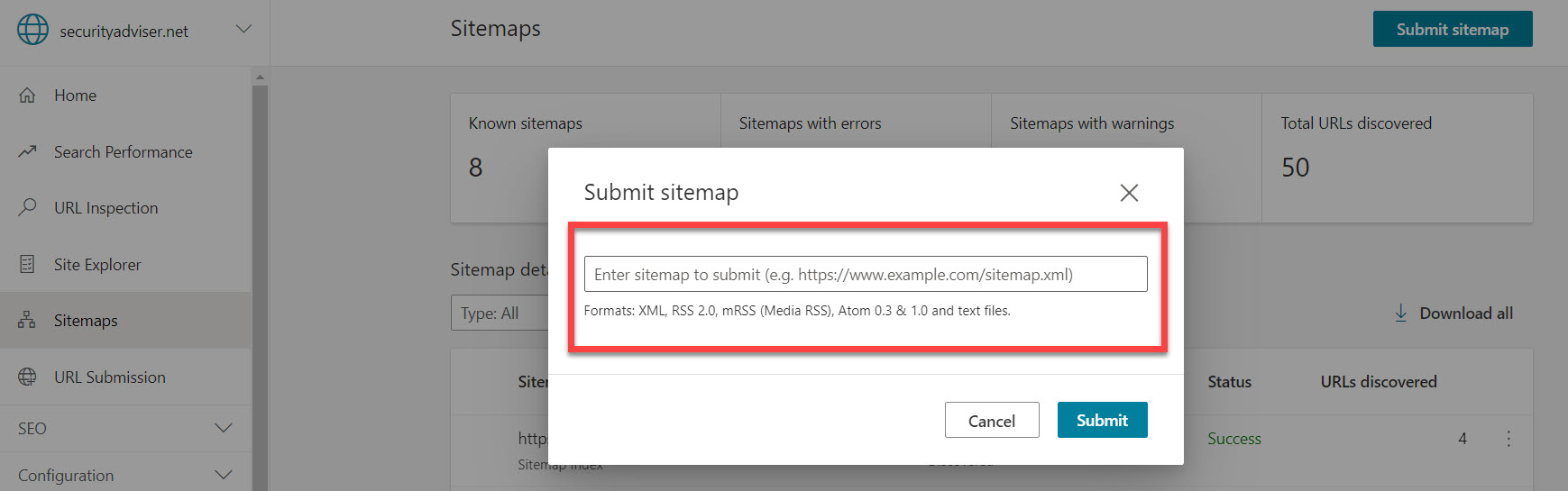 Submitting a URL in Bing Webmaster Tools