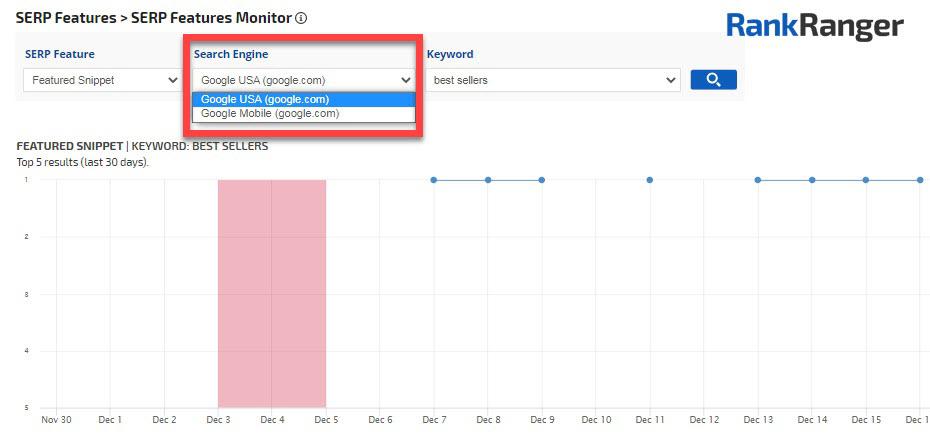 Menú desplegable del motor de búsqueda de SERP Feature Monitor