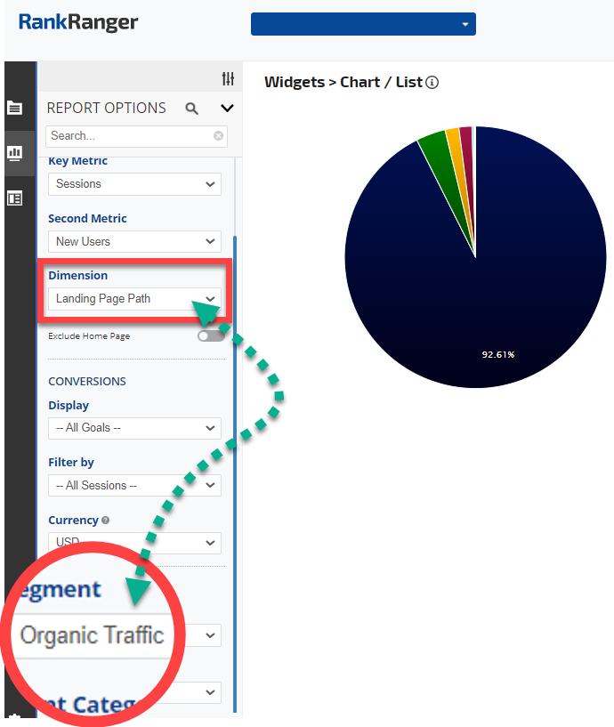Google Analytics Chart / List Widget report options