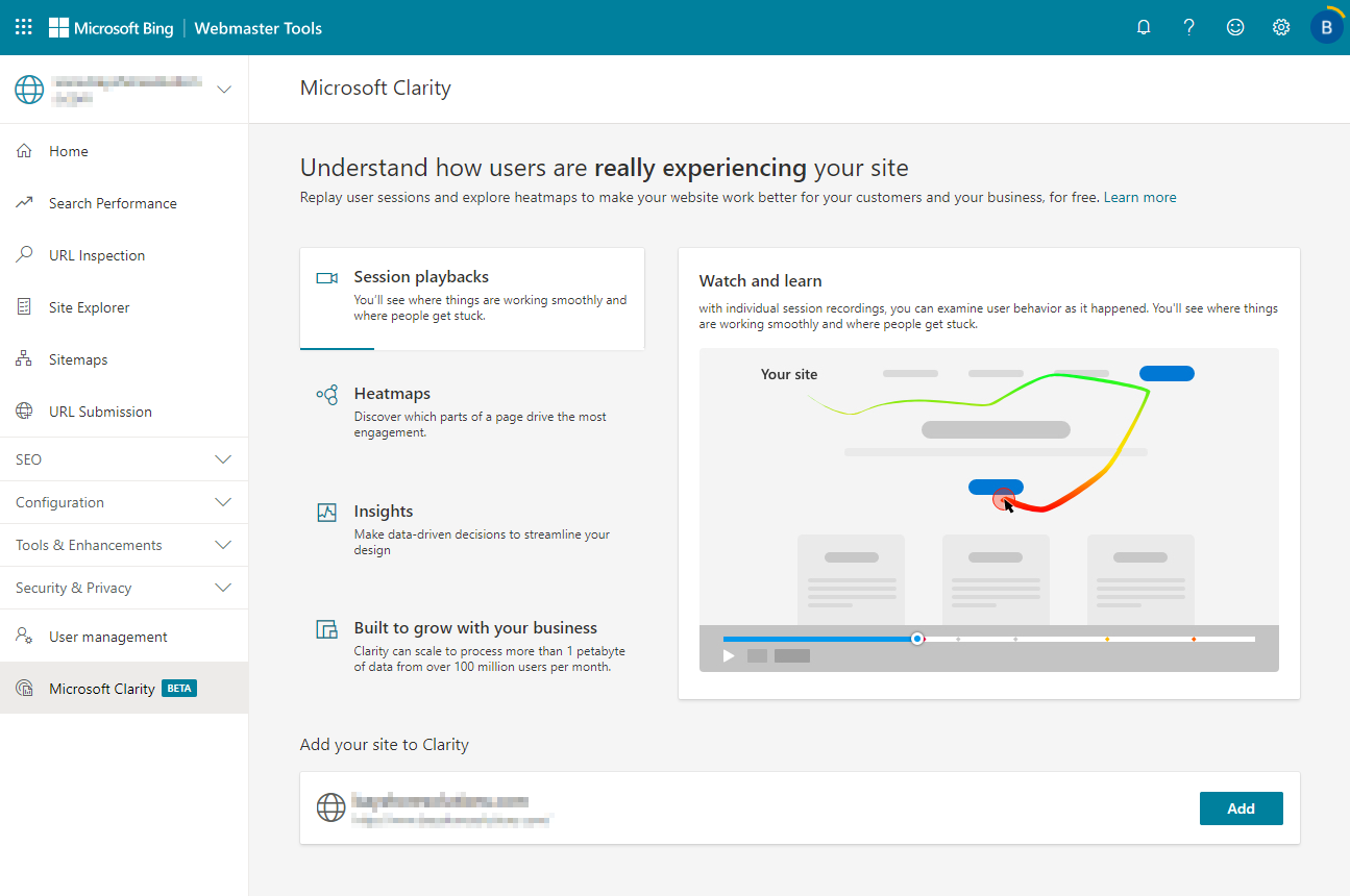 Microsoft Clarity installation page