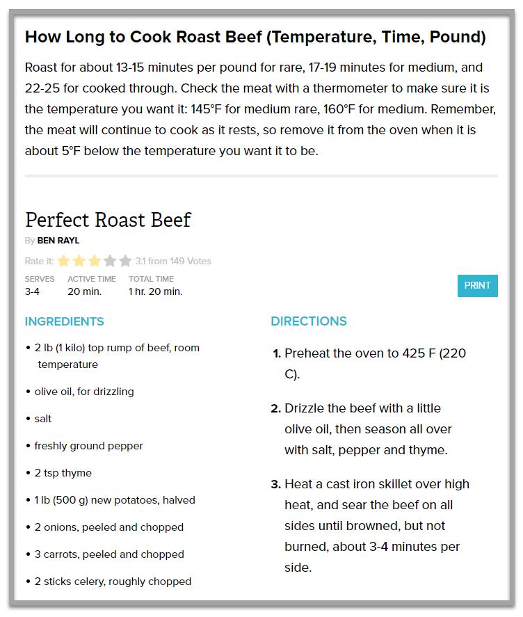 Contenu détaillé des recettes sur parade.com