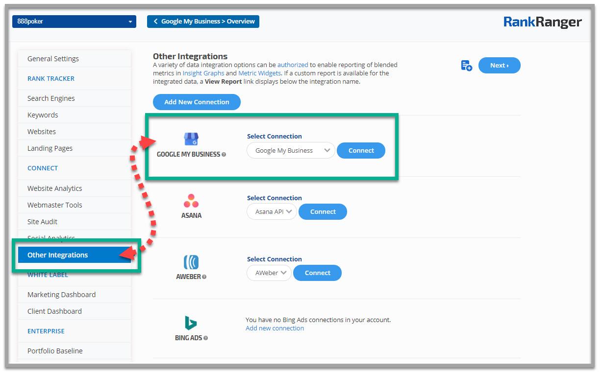Rank Ranger Google My Business integration