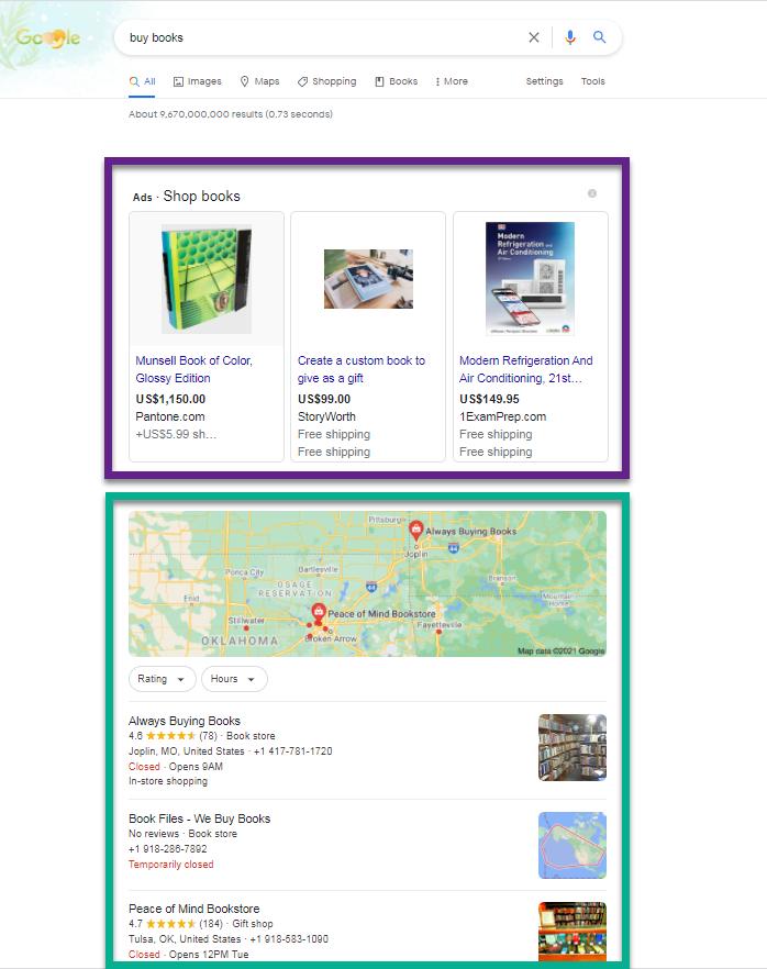 SERP de Google para