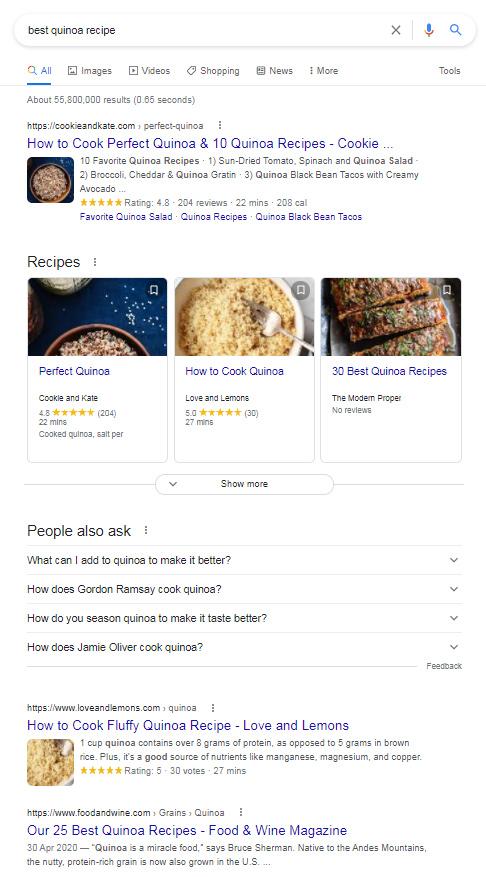 Google SERP pour «meilleure recette de quinoa»