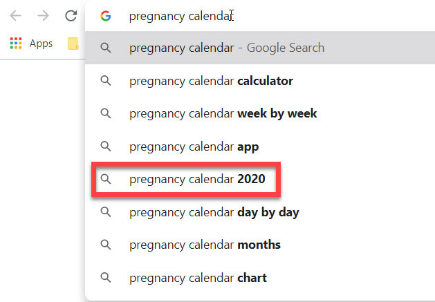 Google Suggest showing terms for 'pregnancy calendar'